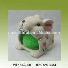 Magnifique porte-éponge en céramique en forme de lapin