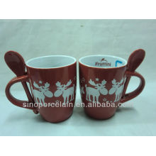X'mas Mug with Stars & Deer with Spoon for BS130913