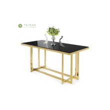 Dining Table with Glossy Frame and Black Glass