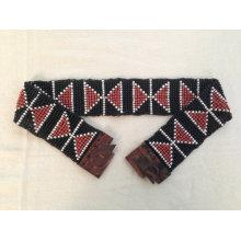 Новые ручные черные многоцветные стеклянные бусины Navajo Chevron Tribal Aztec Style Stretchy Baded Belt with Wood Buckle