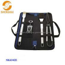 4pcs stainless steel corkscrew bbq set in a nylon bag