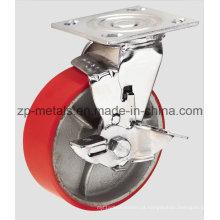 Rodízio resistente do rodízio do giro do ferro com freio lateral