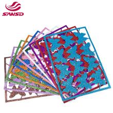 Wholesale eco-friendly colorful butterfly print adhesive handcraft back glue glitter eva glitter foam sheet