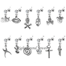 Boucles d'Oreilles Piercing Tragus Unique Skull Dangle