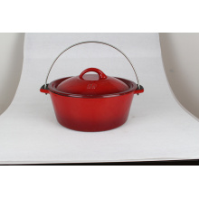 Round cast iron enamel cookware with lid