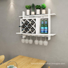 2019 Design Wood Wall Mounted Wine Shelf Bottle Glass Holder Display Rack