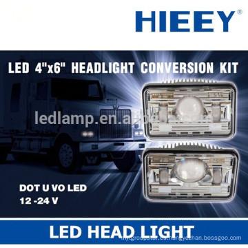 """Aprobación DOT / SAE 4 """"x6"""" Lámpara de cabeza de faro llevada para viga de carretera de camión y haz de luz"""