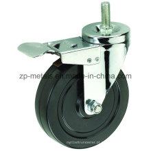 Rodas de rodízio de borracha preta de 4 polegadas com freio