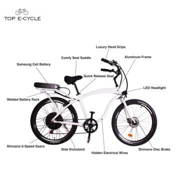Взрослый aluminumframe моторизованный пляж крейсер велосипеды/ электрический велосипед