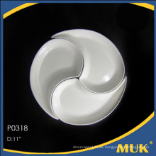 Nuevo diseño de la vajilla de cerámica fina nueva porcelana placas divididas