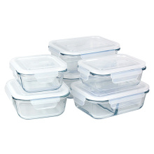 High end borosilicate glass food container lunch boxes with lock lids
