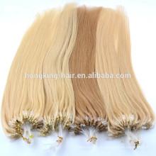 Горячая мода микро бусины наращивание волос микро кольцо человеческих волос для продажи