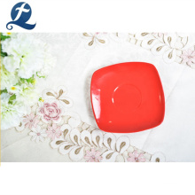 Wholesale High Wear Resistance Red Color Square Ceramic Tea Cup and Saucer