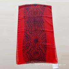 Red Polyester 30d Digitaldruck Chiffon Schal Frauen