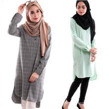 Moda modesta dubai vestidos de lujo musulmán impreso plaid abaya India larga blusa musulmana de algodón