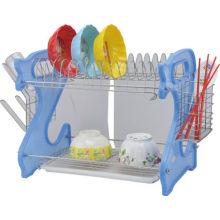 Estante de prateleira de plástico, metal, rack de tigela inoxidável, suporte de tigela prateleira de tigela