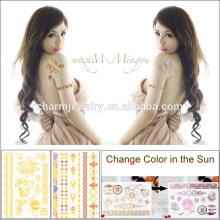 New Arrived Creative Tattoo Sticker Gold Change Color Under the Sunshine for Adults BS-8023