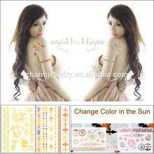 New Chegou Creative Tattoo Adesivo Gold Change Cor sob o sol para adultos BS-8023