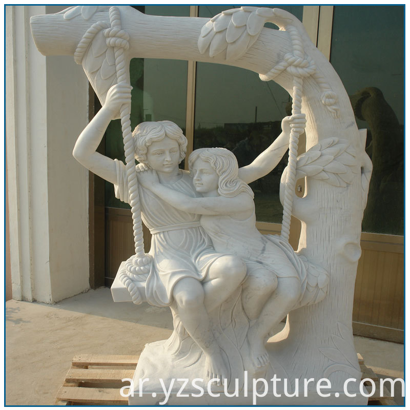 Girls Play Swing Statue