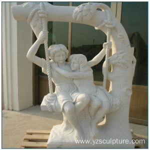 White Marble Girls Play Swing Statue For Sale