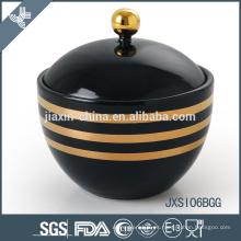 Tarro de caramelo de porcelana de color negro con tapa, olla de azúcar con etiqueta de línea de oro