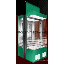 Elevador panorámico especial diseñado con 3 paredes laterales en vidrio
