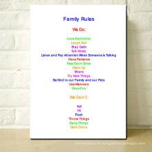 Familien-Regeln-Bild-Druck-Segeltuch-Haus-Zeichen-Wand-Kunst-Geschenk