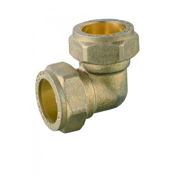 Forged brass elbow compression fitting for copper pipes