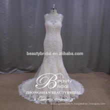 Top Vente en gros Alibaba OEM Sexy Champagne Woman Robes de mariée en sirène mûr