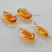 Fabricant de Citrine Quartz Gemstone Bezel Vermeil Connector for Women Jewelry