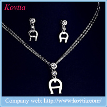 Rhodium sliver plated jewelry set letter A jewelry set artificial design crystal jewelry set