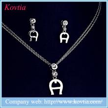 Rhodium sliver banhado jóias conjunto de uma jóia conjunto conjunto de jóias de cristal de design artificial