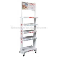 White Floorstanding 5 Tiered Bakery Shop Advertising Display Movable Pop Wooden Rum Cake Stand