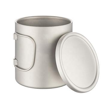 Taza de café de titanio de doble pared con tapa