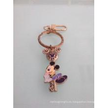 Llavero de esmalte de Mickey Mouse con chapado en oro (GZHY-KC-023)