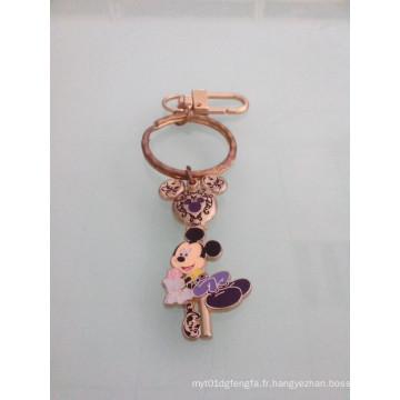 Mickey Mouse émail porte-clés avec plaqué or (GZHY-KC-023)