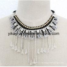 Lady Fashion Modeschmuck Weiß Kristall Anhänger Halskette (JE0197)