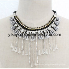 Lady Fashion Costume Jewelry White Crystal Pendant Necklace (JE0197)