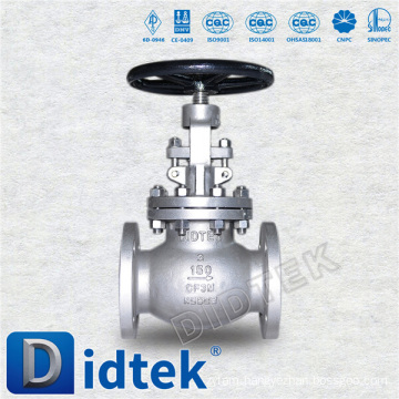 Didtek ANSI 3'' 150LB flange connection rising stem stainless steel globe valve