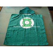 100% algodón toalla Poncho de linterna verde / traje del bebé