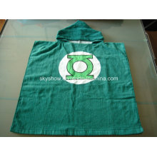 100% Cotton Green Lantern Poncho Towel / Baby Robe