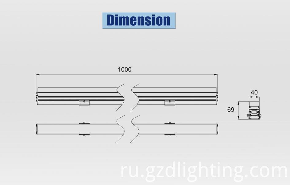 led bar light dimension