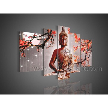 Ручная роспись масляной живописи Будды Абстрактное искусство стены на холсте