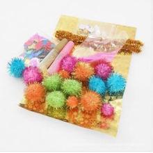 Glitter pom pom, acessórios DIY, festival pompom
