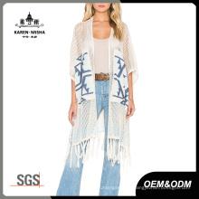 Women Fashion Loose Long Cardigan Sweater with Fringe