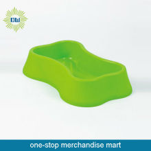 bone shape green dog bowl with stand FDA