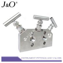 Múltiple de válvula 3 vías de instrumento de acero inoxidable