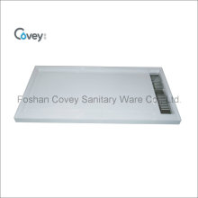 Artificial Stone Shower Base with Long Stainless Steel Cover/Shower Tray for Bathroom