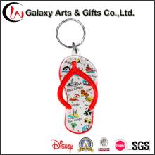 Logotipo promocional impressão personalizado flip-flops em forma de plástico acrílico chaveiro