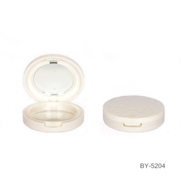 Round White Compact Powder Case